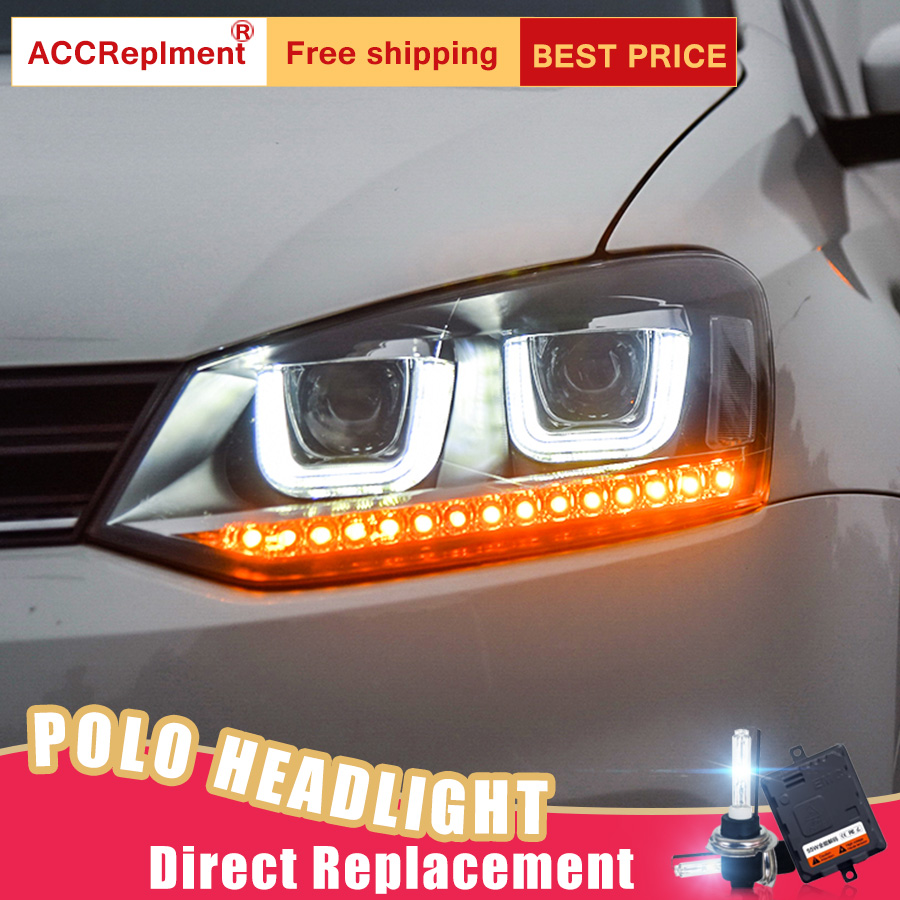 2Pcs LED Headlights For VW Polo 2013 2015 led car lights Angel eyes xenon HID KIT