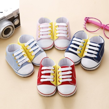 Canvas Baby Shoes Newborn Boys Girls First Walkers Infant Toddler Soft Bottom Anti-slip Prewalker Sneakers 2019 New 0-18 M S2