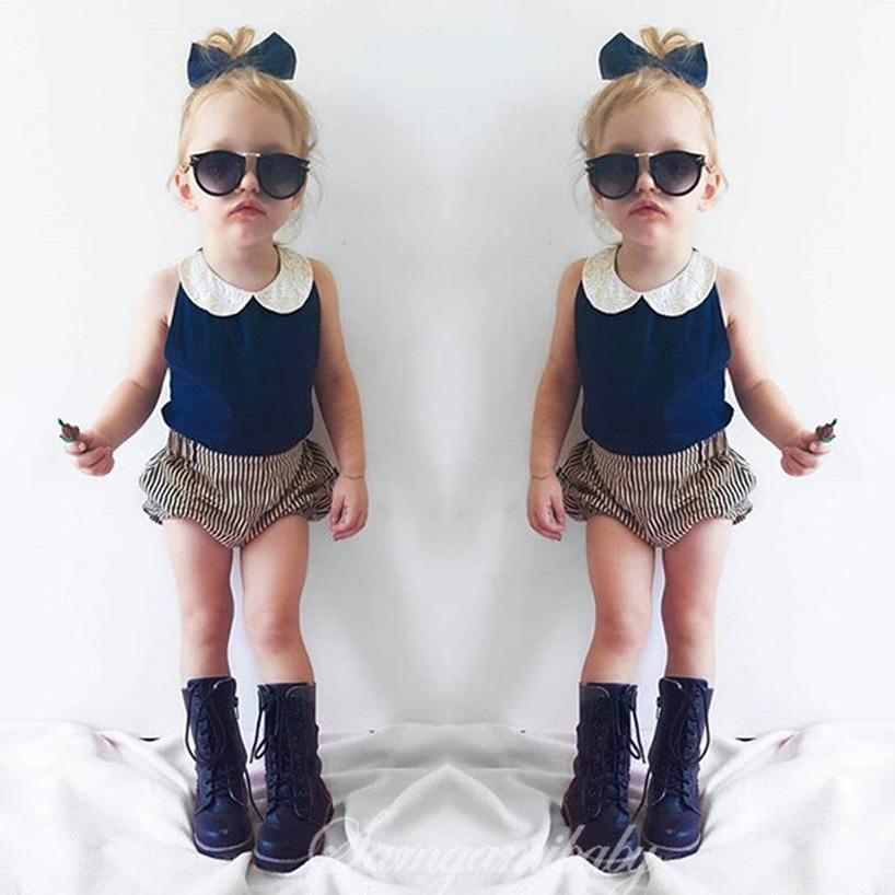 New 2016 casual summer cute baby girl clothes floral tops ...