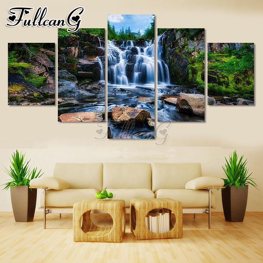 FULLCANG diy full square round drill 5 panel diamond painting natural scenery waterfall 5d mazayka embroidery