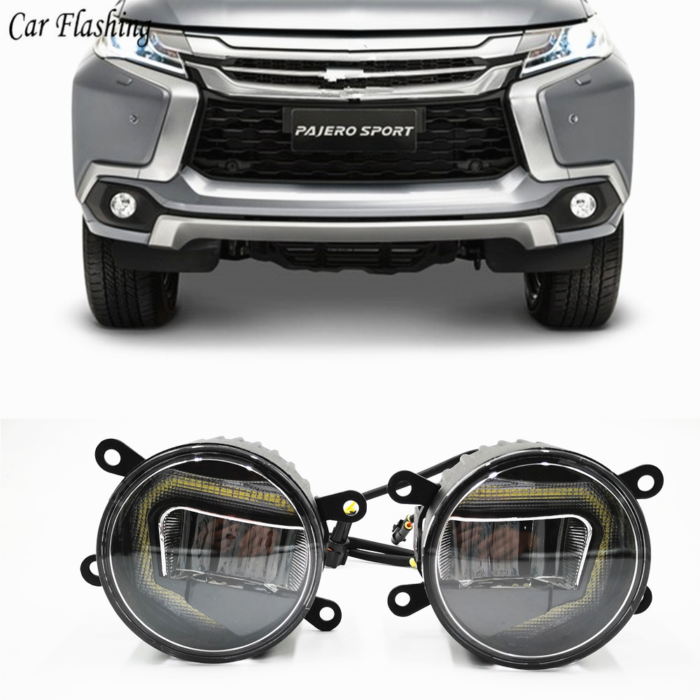 3 IN 1 Functions DRL For Mitsubishi Montero Pajero Sport 2013 2018 Daytime Running Light Projector