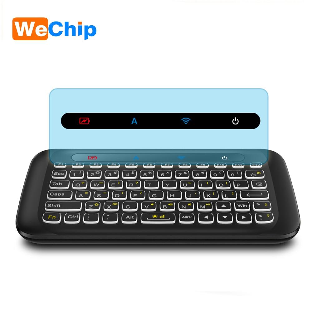 Wechip освещенная контржурным светом H20 мини Беспроводной Клавиатура 2,4 ГГц английский воздушный Мышь ИК-обучения с Touchpad пульт дистанционного ...