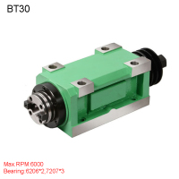 CH03 1.5KW Power Head Unit CNC Machine Tool Spindle for Milling Machine Max.RPM 6000RPM/2500RPM Taper Chuck BT30 MT3 ER32