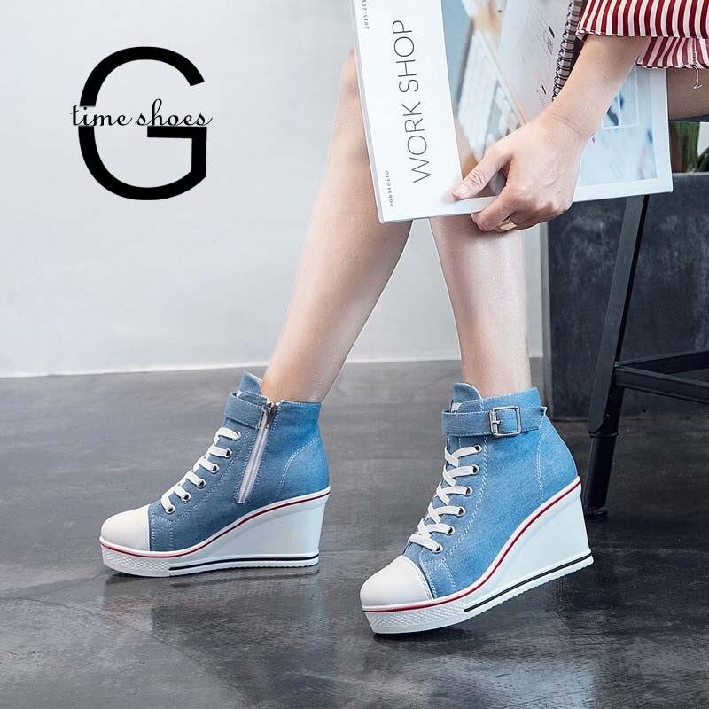 Gtime Canvas Shoes Women Wedges Platform Sneakers 8cm Heels Sports Shoes Lace Up Solid Color Casual Side Zipper Shoes 43 ZSTM57