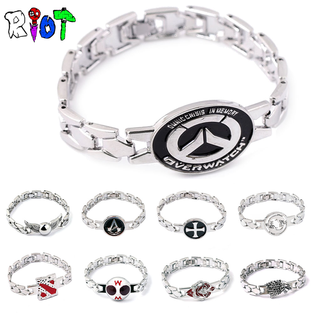 19style anime game series bracelet Naruto OW DOTA Attack on Titan Assassins One piece charms jewelry Drop shipping Fans Gift