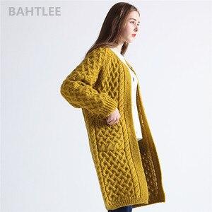 Image 3 - Bahtlee冬長袖暖かいモヘアカーディガンニットウールジャカード織りのセーターの女性o ネックポケットマスタードイエロー
