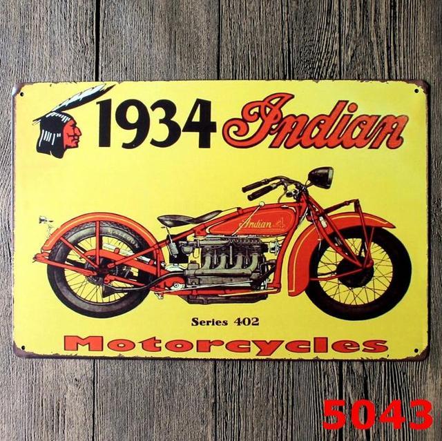 20*30 CM 1934 Indian Motorcycle Theme Old Metal Art Poster Tin Sign ...