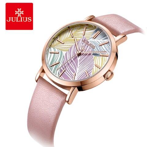Folhas de Árvore Pulseira de Couro Julius Marca Relógio Feminino Miyota Quartzo Horas Moda Senhoras Vestido Relógios