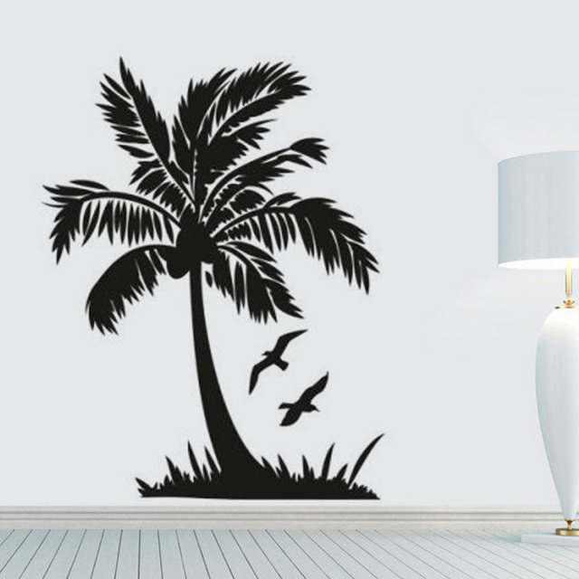 Parrot Home Decor Trend Flying High: Flying Bird And Palm Tree Wall Sticker Seaside Scenery