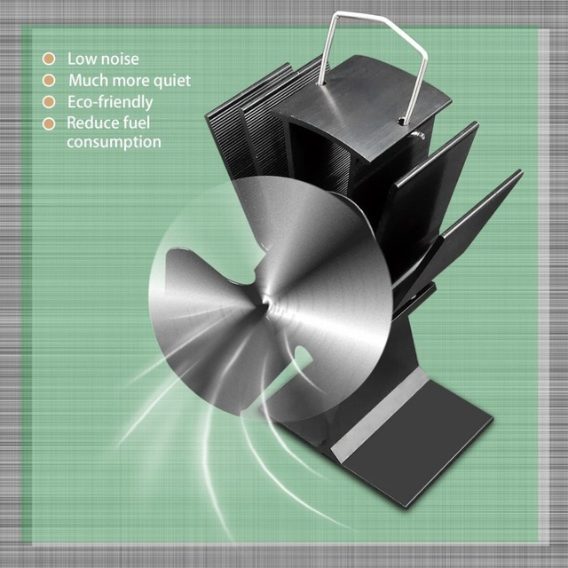 Durable 2 Blades Aluminum Black Heat Powered Stove Fan Fuel Saving Eco-friendly Wood Burner Stove Fan