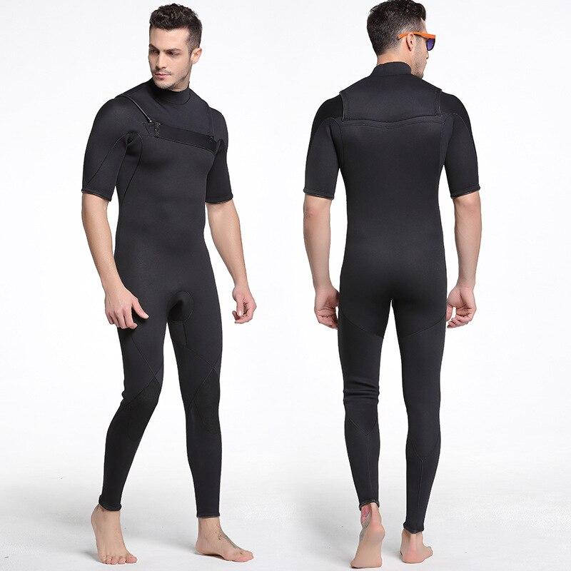 Sbart New 3mm neoprene Mens Wetsuit Black Chest Zip Suit One-piece Fullbody Short Sleeve Rash Guards for Surfing Snorkeli greg norman mens cotton seersucker short 38 38 0 black white