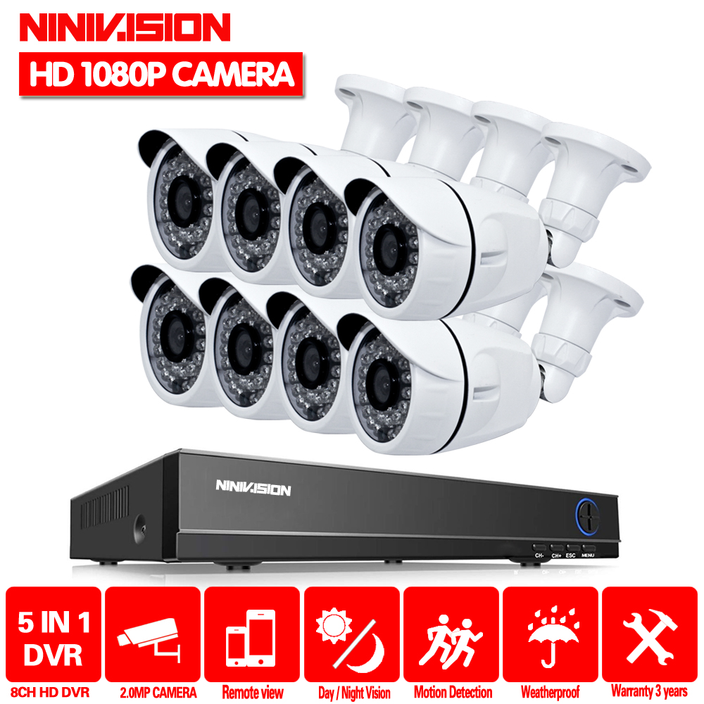Full HD 1080P 3000TVL CCTV security system 8CH 1080P AHD DVR kit 8*2mp Outdoor video surveillance security camera kit WIFI DVR-in Surveillance System from Security & Protection    1