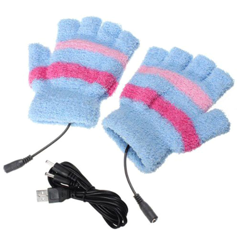 1Pair USB Powered Heated Gloves Electric Thermal Gloves Hand Warmer MUG88