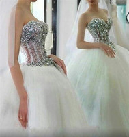 Custom Made 100% Real Photo Ball Gown Sweetheart Crystal Beaded Elegant Wedding Dresses Bridal Gowns Vestido De Noiva DA42E