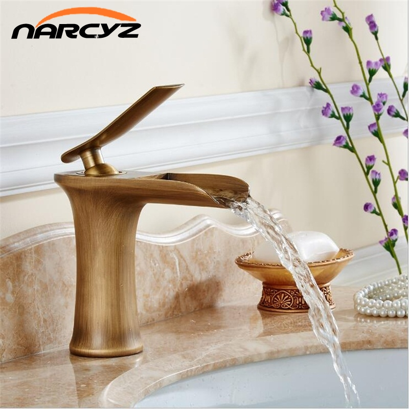 Basin Faucets Waterfall Bathroom Faucet Single handle Basin Mixer Tap Antique Faucet Brass Sink Water Tap