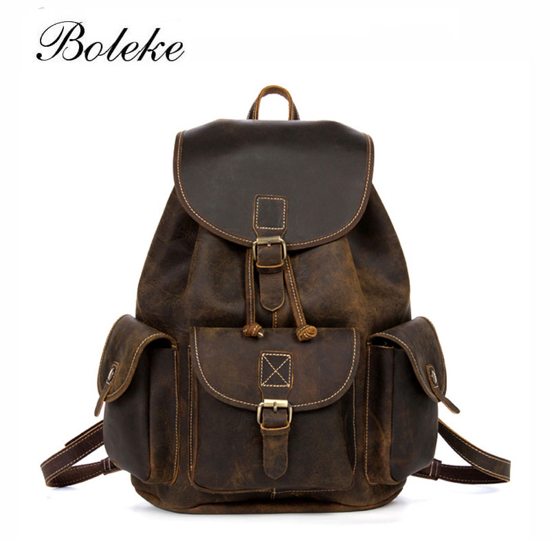 Men Crazy Horse Genuine Leather Backpack Vintage Handmade Purse Male Retro Rucksack Large Classic Fashion Travel Backpack 98608 gathersun the secret life of walter mitty retro wallet handmade custom vintage genuine wallet crazy horse leather men s purse