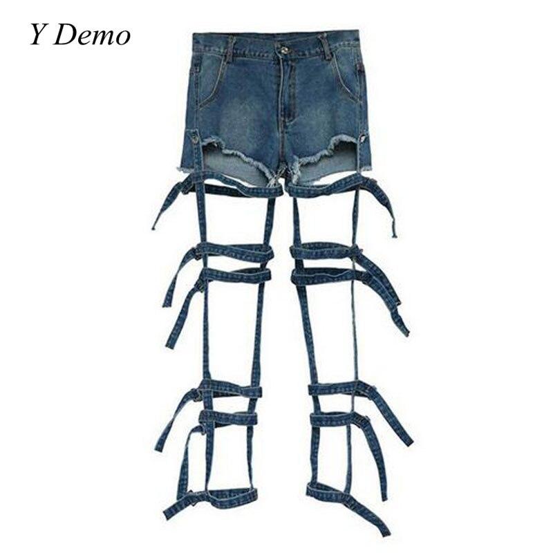 Harajuku Punk Women Denim   Shorts   Hot Rock Tape Jeans   Shorts   Female Summer Women Clothing