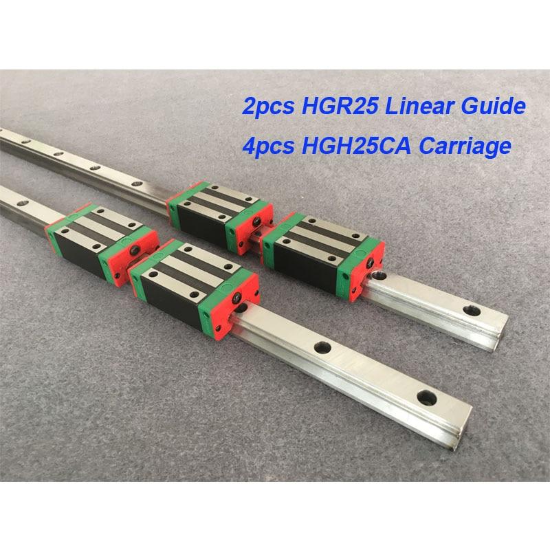 2pcs 25mm HGR25 - 850 900 950 1000 1050 1100 + 4pcs HGH25CA or HGW25CA linear block carriage CNC parts 2pcs 25mm HGR25 - 850 900 950 1000 1050 1100 + 4pcs HGH25CA or HGW25CA linear block carriage CNC parts