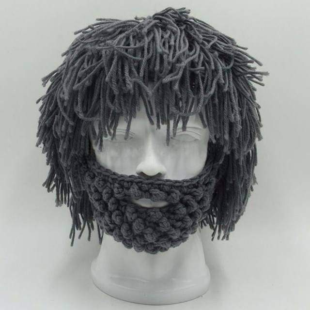 e3305698f75 BBYES Cool Gifts Beard Hats Handmade Knit Warm Caps Halloween Funny Party  Beanies for Mad Scientist