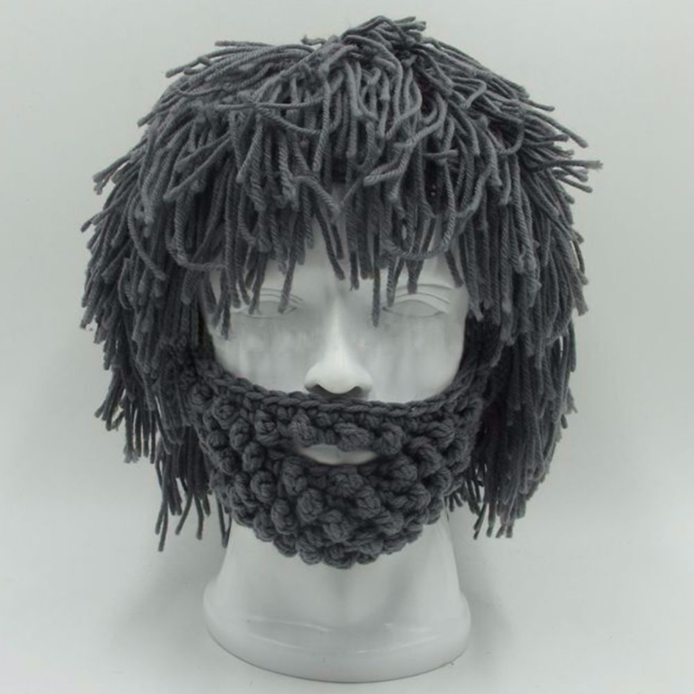 BBYES Cool Gifts Beard Hats Handmade Knit Warm Winter Caps Halloween Funny Party Beanies for Mad Scientist Caveman Men Women New