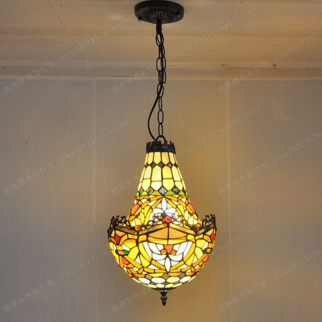American Crystal factory outlets Tiffany glass chandelier lighting color creative retro antique shop cafe bar staircase lighting