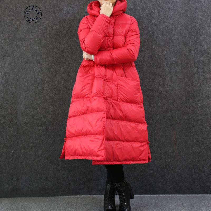 Woxingwosu для женщин подпушка пальто женский длинный тонкий колено Китай ретро ветер большой размеры свободные плащ