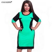 COCOEPPS Big Size Patchwork Women Dresses Elegant Plus Size O Neck Femme Summer Dress New Casual