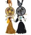 2017 New Bohemian jewelry Dream catcher pendant necklace Black tassel feather tauren taurus leaf charm statement Necklace