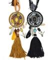 2017 Nueva joyería Bohemia feather Dream catcher collar colgante borla Negro tauren taurus encanto de la hoja Collar de la declaración