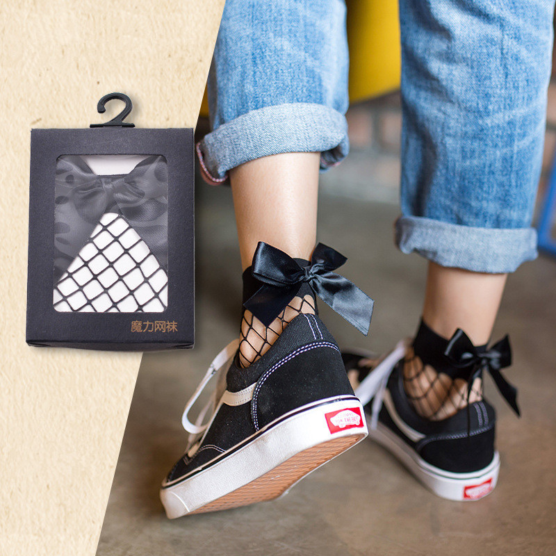 CRAZY FLY Women's Harajuku Black Breathable Bow knot Fishnet Socks.Sexy Hollow out Mesh Nets Socks Girl's Bow Sox Streetwear New