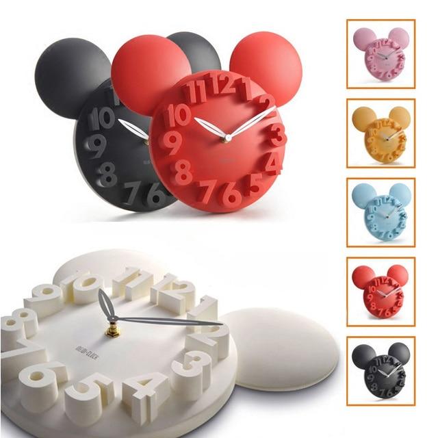 Modern Designer Mickey Mouse 3D Wall Clock Acrylic Digital Wall Clock Large Wall Clock Kitchen Watch Horloge mural For Children