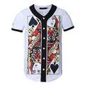 Новый Двойной стороне Печатной Бейсбол Футболка Мужчины Европейский Стиль Мужские мода Футболка Homme Однобортный Slim Fit Забавный Т рубашки