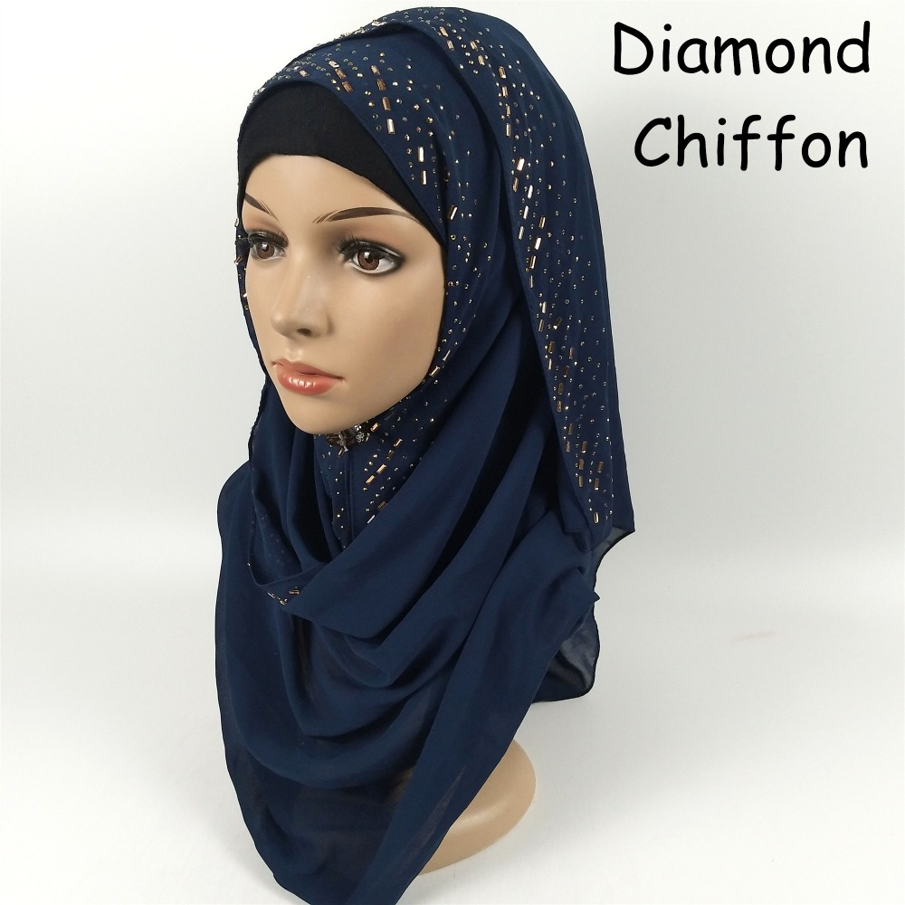 H6 High quality diamond bubble chiffon hijab   wrap   shawl women   scarf     scarves     wrap   headband 180*75cm bead rainstone shawl