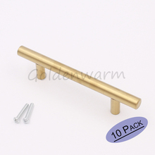 Brushed Brass Gold kitchen Cabinet Handles LS201GD76 Furniture Hardware T Bar Door Knob 3 inch Hole Centers Drawer Pulls 10PCS