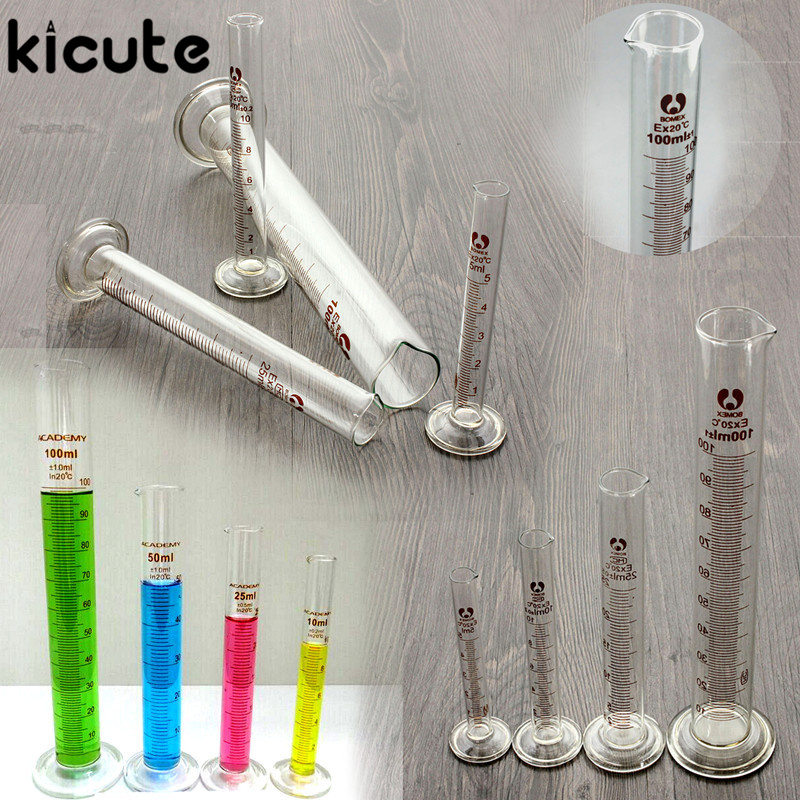 Kicute New 5ml 10ml 25ml 50ml 100ml Graduated Cylinder Measuring Tool Lab Glass Measuring Container Chemistry Cylinder Set cartoon graduated scale measuring spoon