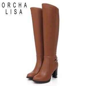 Image 3 - ORCHA LISA Women Winter Thick Fur Knee High Heel PU Leather Boots Zipper Snow Boot Long Chunky Heels Botas Feminina Black Brown