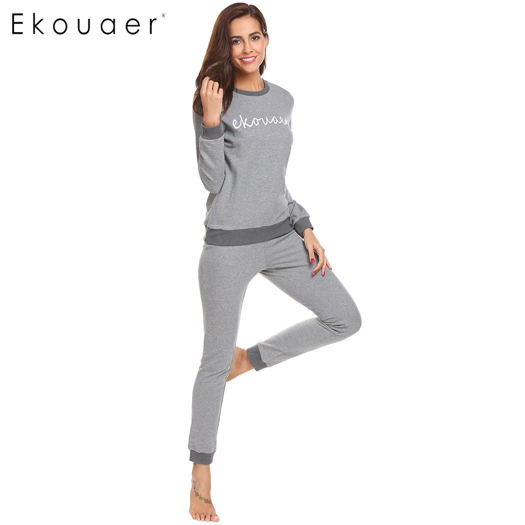 Ekouaer   Pajamas     Set   Women Sleepwear Long Sleeve Letter Print Patchwork Tops Long Pant   Pajama     Sets   Female Nightwear Suit Autumn