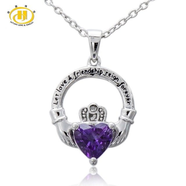 Hutang natural amethyst diamond accents 925 sterling silver hutang natural amethyst diamond accents 925 sterling silver claddagh pendant let love friend aloadofball Image collections