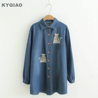 KYQIAO Plus Size Women Clothing Mori Girls Autumn Japanese Style Fresh Loose Long Sleeve Cat Embroidery