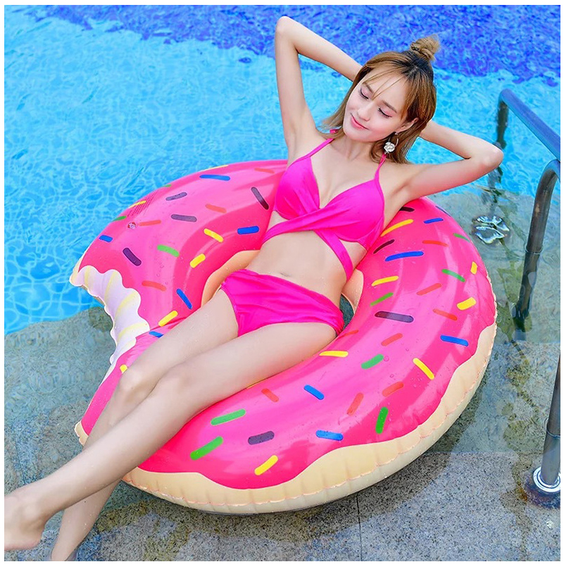 Summer New  Inflatable Donut Shape Swimming Rings Thickened Oversized High Quality Explosion  Women  Swimming Rings pool float
