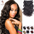 Hot Sale Body Wave  clip in human hair extensions cheap unprocessed Peruvian virgin hair clip ins natural color human hair Weave