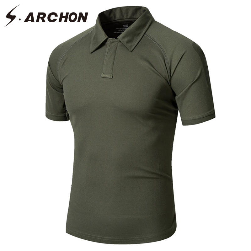 S.ARCHON Summer Military Style Camouflage   Polo   Shirt Men Casual Breathable Fabric Tactical   Polo   Shirts Slim Quick Dry Camo   Polos