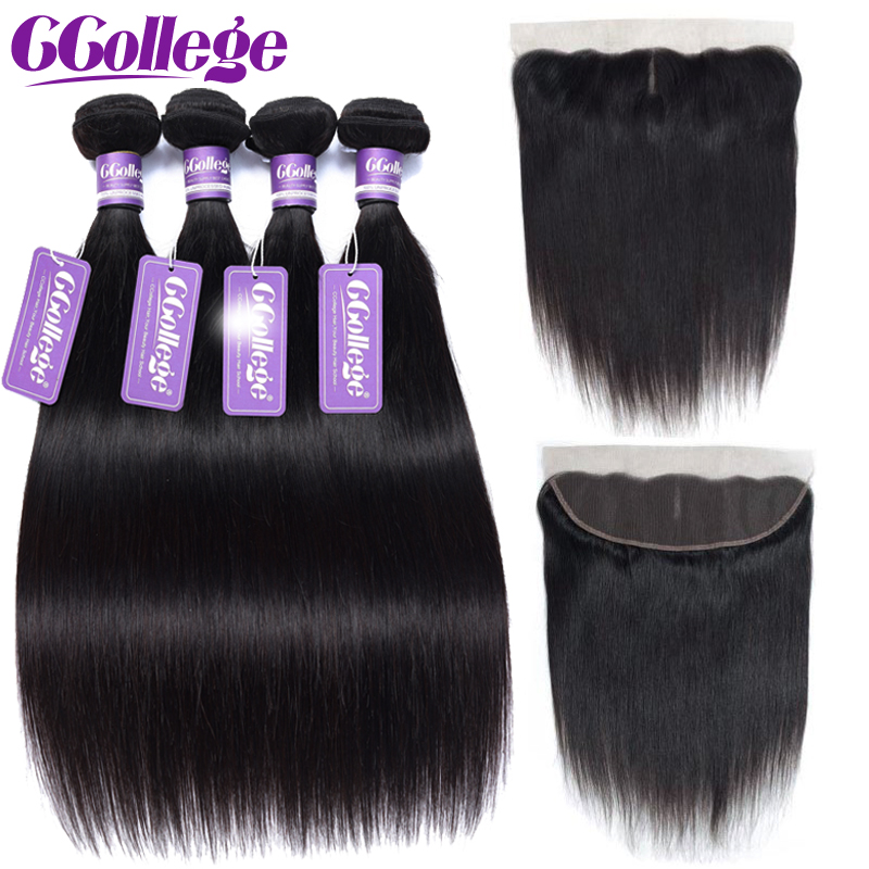 CCollege 4x13inch lace Closure Frontal With Bundles Straight Brazilian Hair Weave Bundles With Closure Non Remy