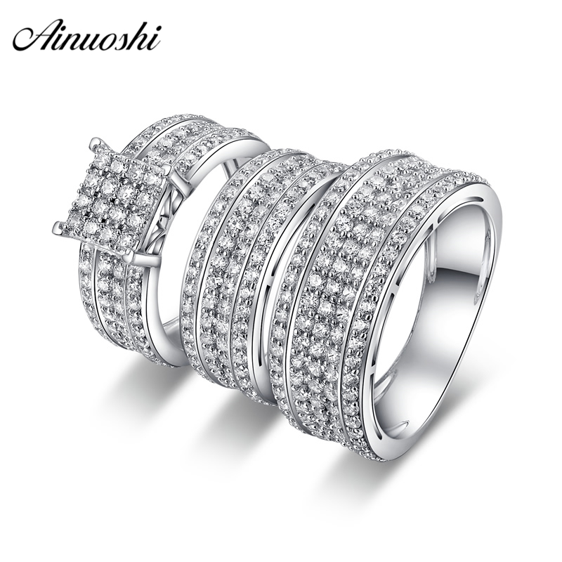AINUOSHI 925 Sterling Silver Couple Wedding Engagement 4 Prongs Rings Sets Women Men Anniversary Lovely Promise Ring Sets Gift