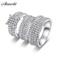 AINUOSHI 925 пара стерлингового серебра Свадебные обручальные 4 кольца с зубцами наборы для женщин и мужчин юбилей прекрасные обещания кольца на
