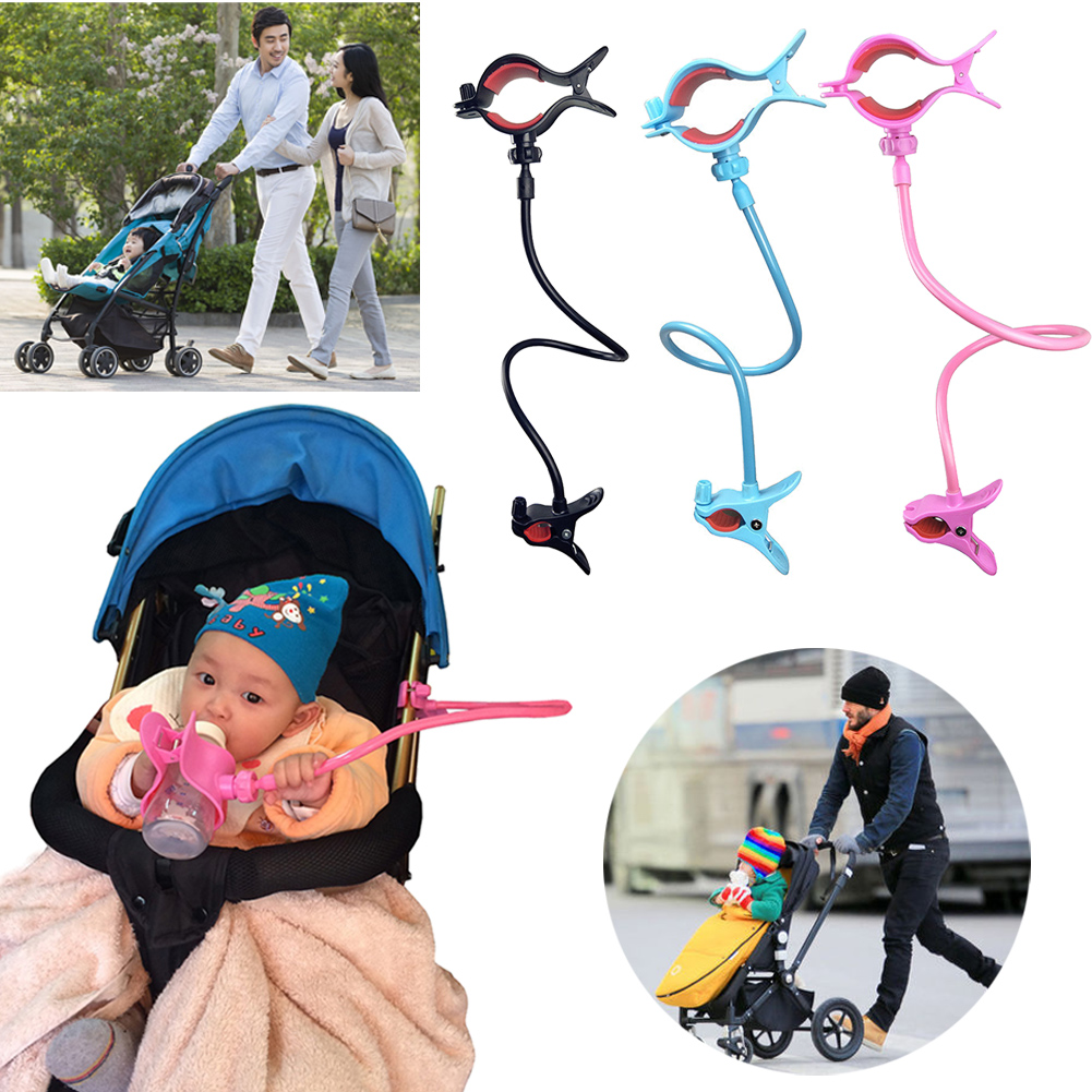 Universal Stroller Bottle Holders Accessory Hands-free Adjustable Bottle Clip Holder on Baby Strollers Bed for Dad Mumy 3 Colors