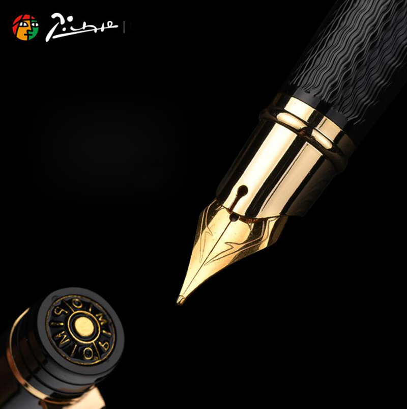 Pimio Picasso fountain pen picasso ps 917 gold clip silver Student teacher business Roman style gift box packaging FREE shipping-in Fountain Pens from Office & School Supplies