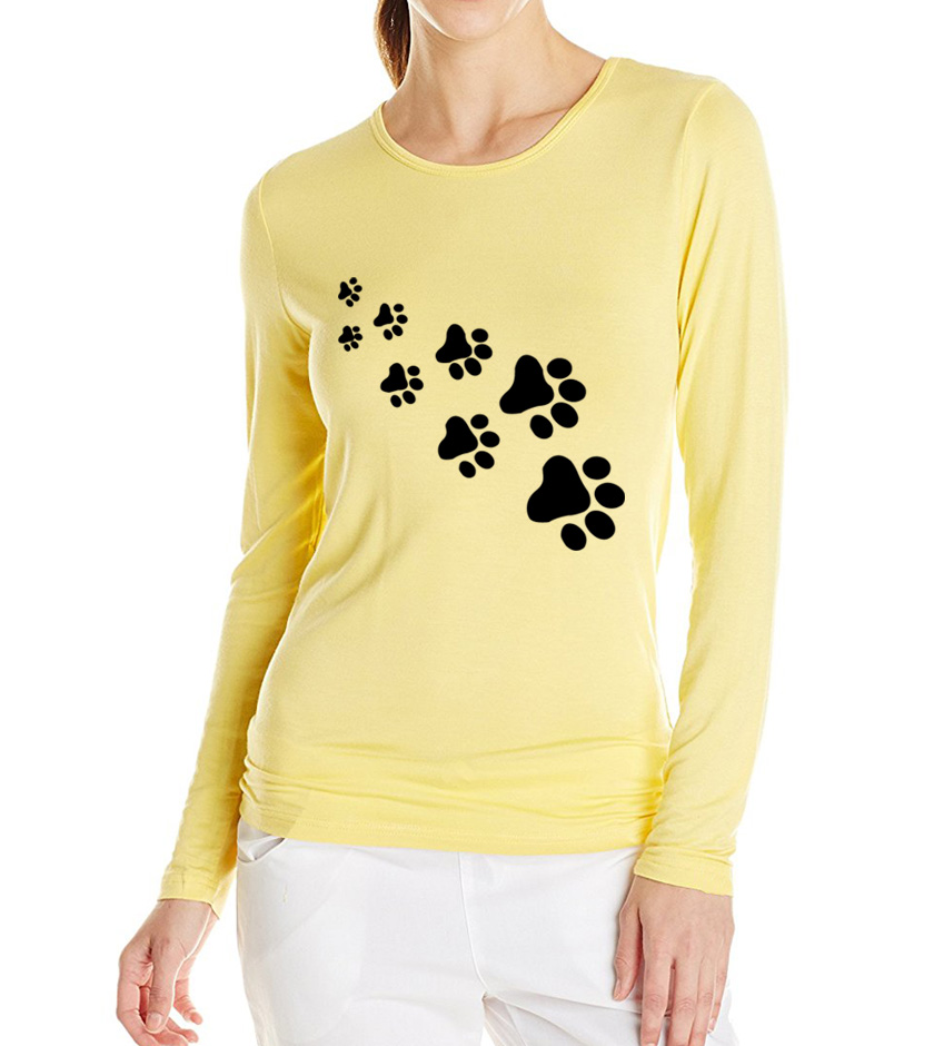 Cat Paws Print Women Cotton Casual Long Sleeved T Shirt