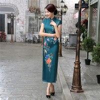 High Quality Mandarin Collar Women S Flower Dress Traditional Satin Long Qipao Cheongsam Sexy Clue Wear