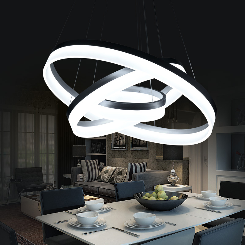 Hanging modern led ring circles pendant lights lamp for for Moderne deckenlampen led